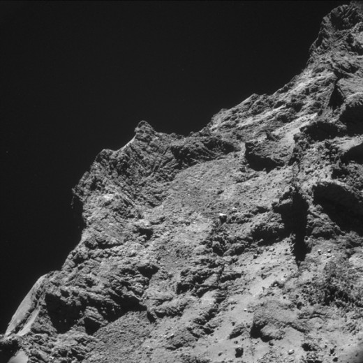 The rocky surface of 67P