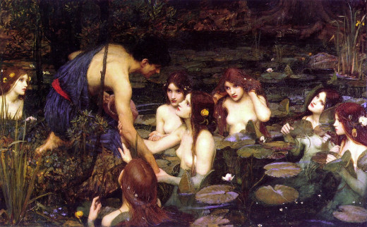 """Hylas and the Nymphs"", a Victorian painting by J. W. Waterhouse"