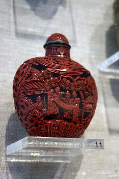 """Gathering of Scholars"", antique snuff bottle"