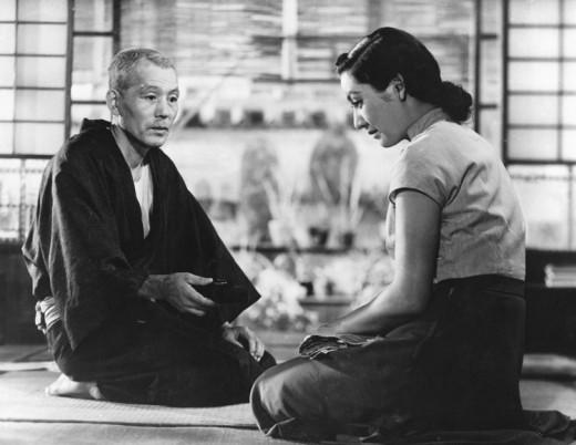 Chishu Ryu and Setsuko Hara in Ozu's classic Tokyo Story (1953)