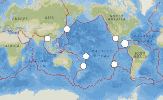 6.0 magnitude or larger earthquakes around the world during October 2014, per the USGS web site.