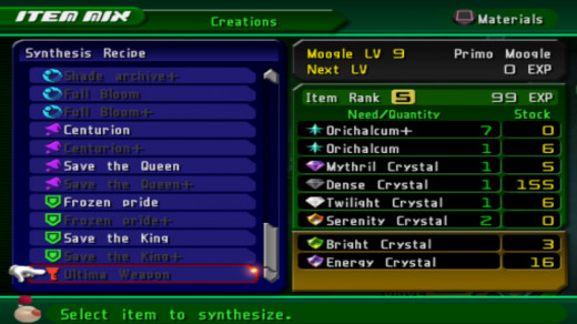 In game recipe for Ultima weapon with a level 9 Moogle.