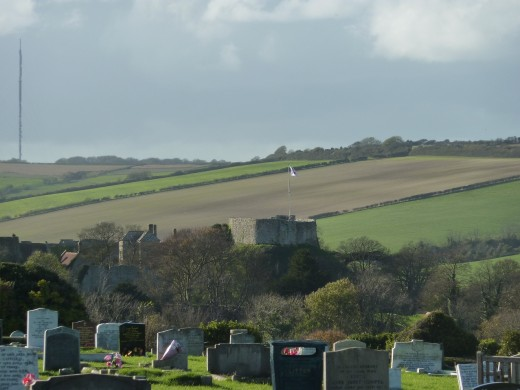 View across cemetery to Carisbrooke Castle