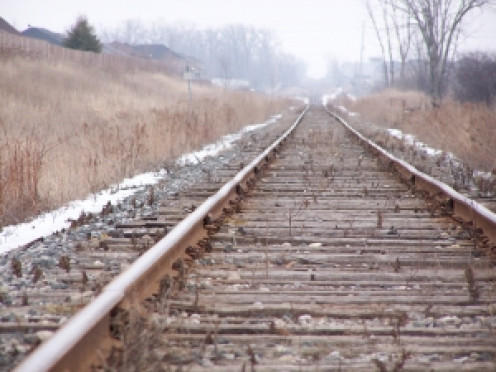 Railroad tracks through the countryside