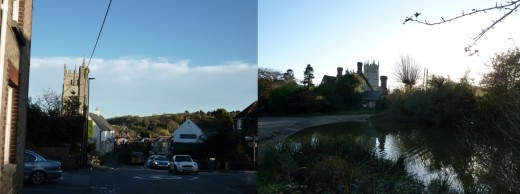 Left- The view down Carisbrooke high street, with St Marys church on the left. Right- The view back across the pond to the rectory and church