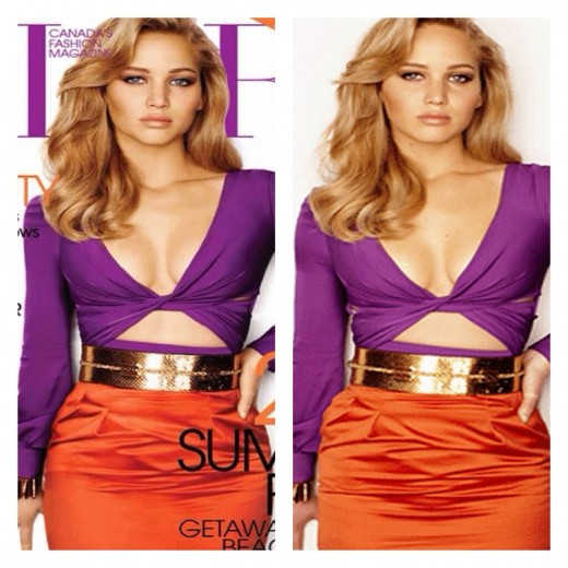 When other celebrities like Jennifer Lawrence are photo shopped, they are the object of pity rather than aggression