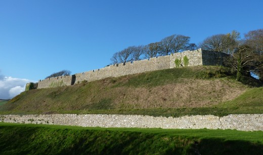 Carisbrooke castle. The islands largest castle is a motte and bailey design, built mostly in the 12th century