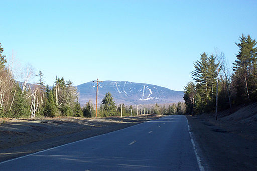 A view of Saddleback Mountain from Route 16 in Maine.