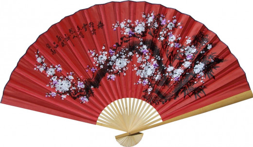 "Large 60"" Folding Wall Fan -- Prosperity Blossoms -- Original Hand-painted -- Each is Unique"