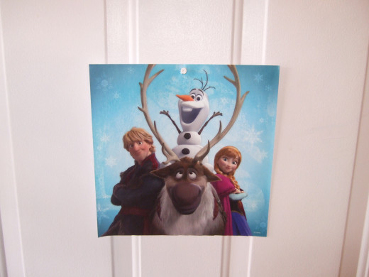 This picture from the Frozen calendar was the best one to go on the front door.