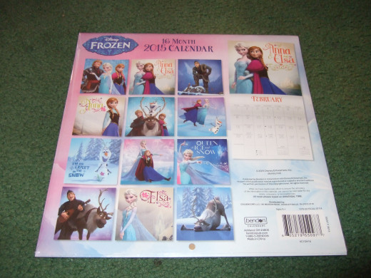 Here's the Frozen calendar I cut the pictures out of.