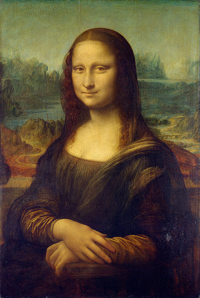 """Mona Lisa"", by leonardo da Vinci. The painting makes use from mathematical propotyions, as well as many visual effects, as glazing and sfumatto."