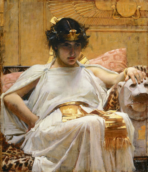 """Cleopatra"", by John William Waterhouse. He was able to combine many styles in his paintings, as Neoclassicism, Romanticism, Pre-Raphaelitism and Impressionism. His paintings had visible brushstokes that gave them a sensual and soothing quality."