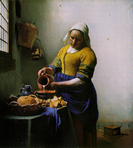 """The Milkmaid"", by Vermeer. Altough he was a ""photographic"" artist (he would use the camera obscura), he was able to give a pleasant color harmony to his paintings, as well as glazing visual effects."