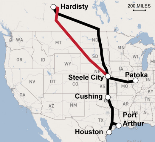 Proposed route of the Keystone Pipeline XL