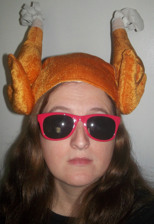 I hope no one recognizes me wearing this turkey hat.