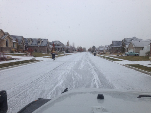 It snowed and it stuck on the road near my house, November 13,2014