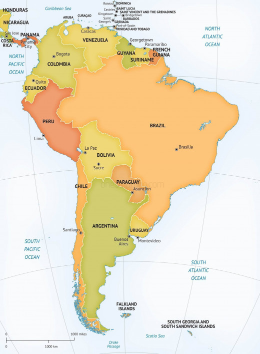 Political vector map of South America.