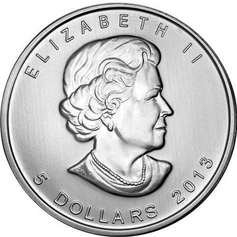The 2013 Silver Maple Leafs have two designs, the normal 2013 design and the 25th Anniversary design - Silver Maple Leaf - Queen Elizabeth II Image.