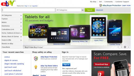 Ebay's Homepage