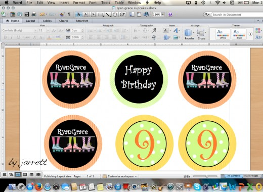 Cupcake toppers are designed on Microsoft Word