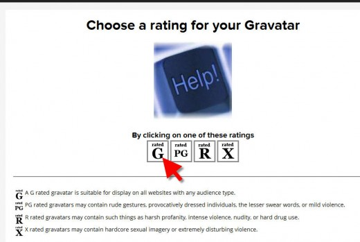 Gravatar.com rate an image