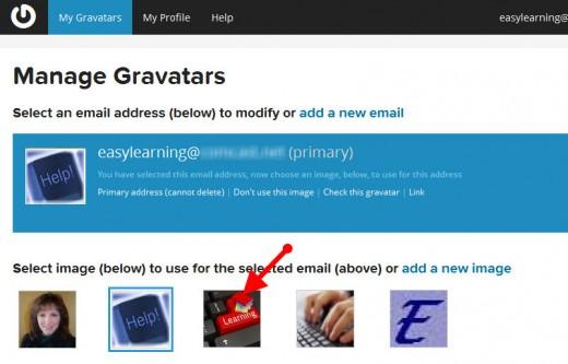 Gravatar.com select an image