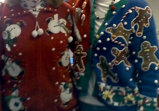 The faces have been cropped out to protect the identity of these Ugly Sweater fashion victims.