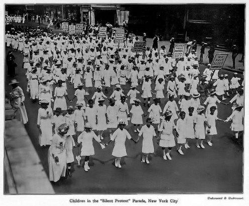 First Massive African American Protest in American History - July 28, 1917 - Children in New York City Participating in the Silent Protest Parade against the East St. Louis Riots.