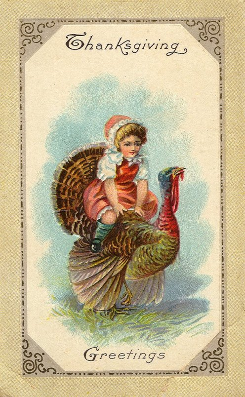 In the early 1900's Thanksgiving cards given to friends and family looked a lot like this on the front, depicting a traditional greeting for the national holiday.