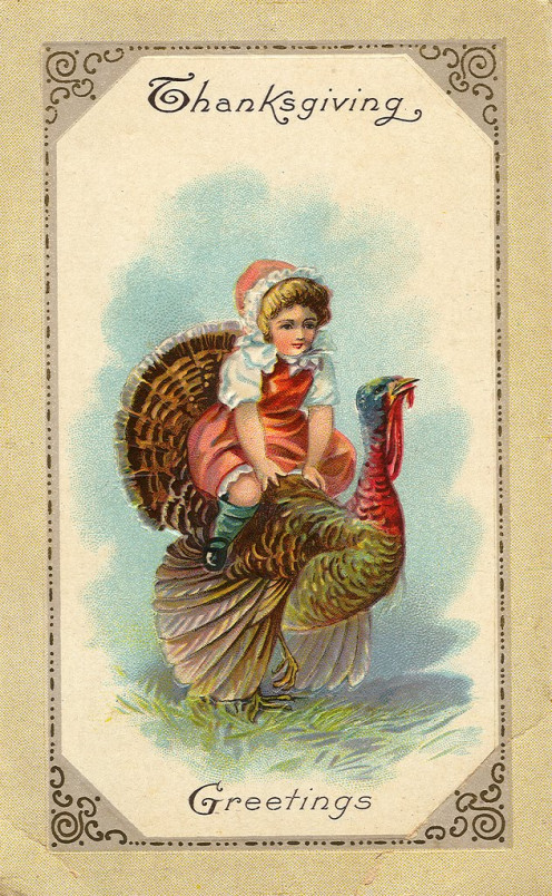 In the early 1900s Thanksgiving cards given to friends and family looked a lot like this on the front, depicting a traditional greeting for the national holiday.