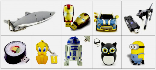 8 GB USB Flash Drives. Top, l to r: Niceeshop™ Shark, Marvel Iron Man Mark IV, Sunworld Mini Cooper, Newdigi Transformer. Bottom: HDE Sushi Calif. Roll, Emtek Looney Tunes Tweety Bird, Euroge Tech® R2D2, Cute PVC Owl, EP Despicable Me 2 Minions Dave