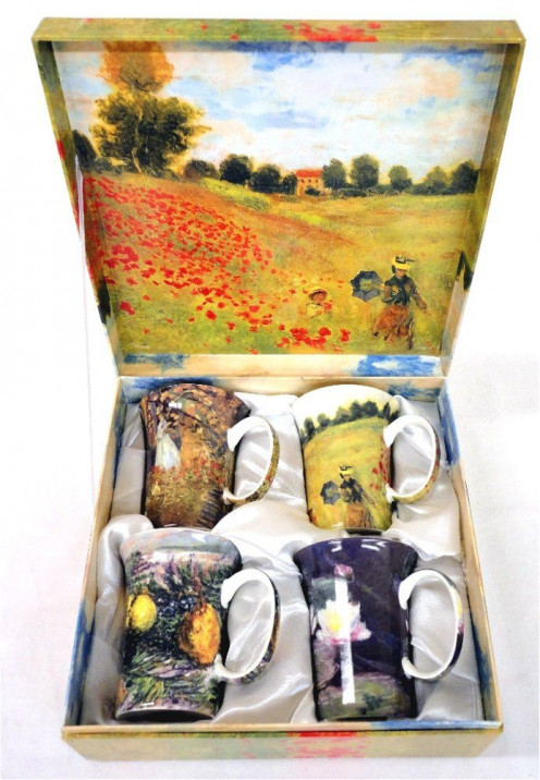 Set of 4 Monet Classics Coffee or Tea Mugs in a Matching Gift Box and 6 Tea Bags, Bundle 2 Items