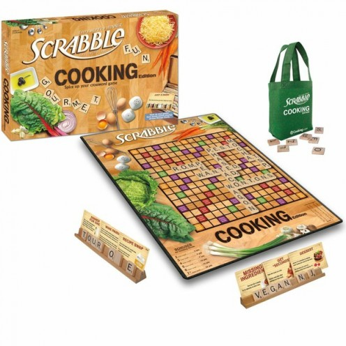 What you'll find inside the box of Scrabble Cooking Edition