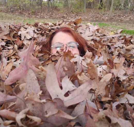 A sneak at my hot self. Couldn't refuse jumping in this pile of leaves.