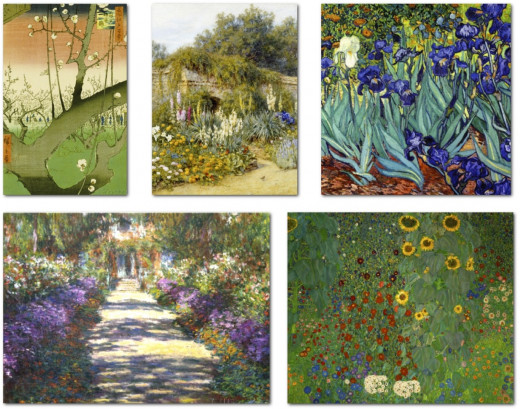 Above, top to bottom, l to r: Plum Garden, Kameido by Ando Hiroshige,; Gertrude Jekyll's Garden, Munstead Wood by Helen Allingham; Irises, Saint-Remy by Vincent van Gogh; Garden at Giverny by Claude Monet; Farm Garden with Sunflowers by Gustav Klimt