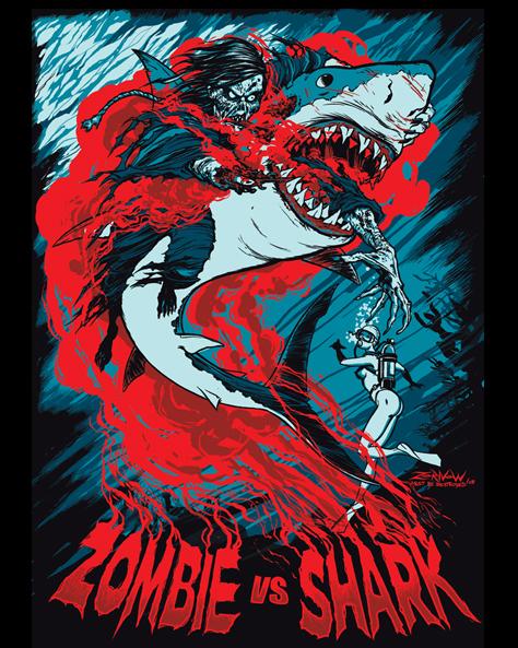 Fright Rag's 'Zombie VS Shark' shirt based on the iconic scene from Lucio Fulci's 1979 film 'Zombie' (AKA Zombi 2)