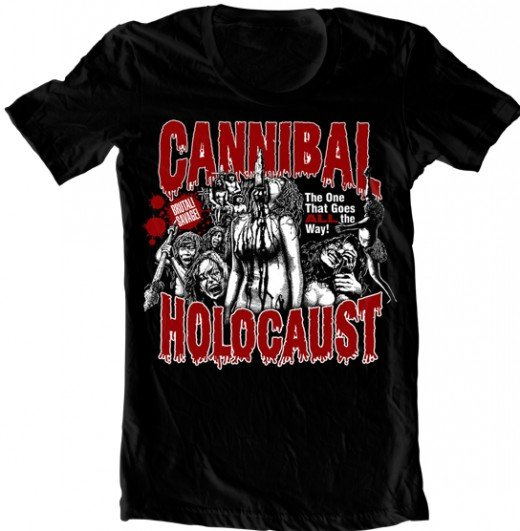 Rotten Cotton's 'Official Cannibal Holocaust t-shirt Design A '. Do you have the balls to wear it?