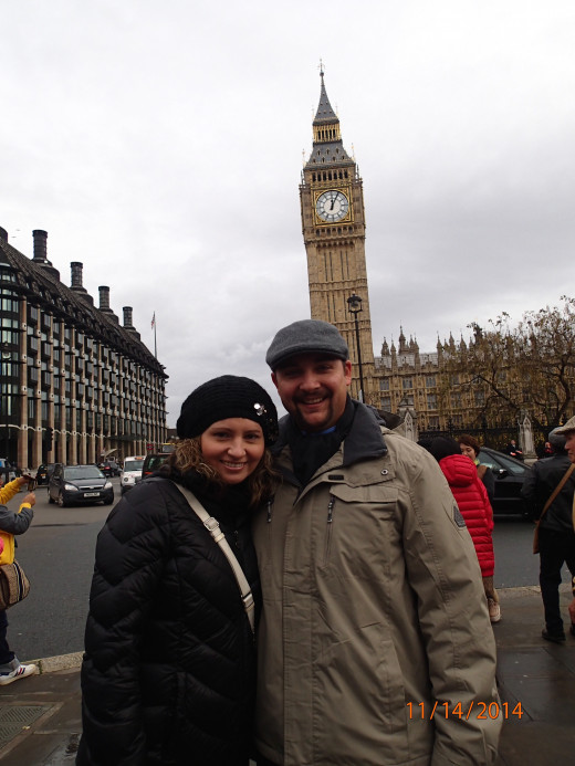 The wife and I in front of Big Ben and Parliament