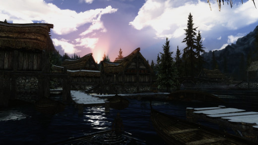 Welcome to Morthal. It looks like Dawnstar with less snow or Falkreath in a swamp.