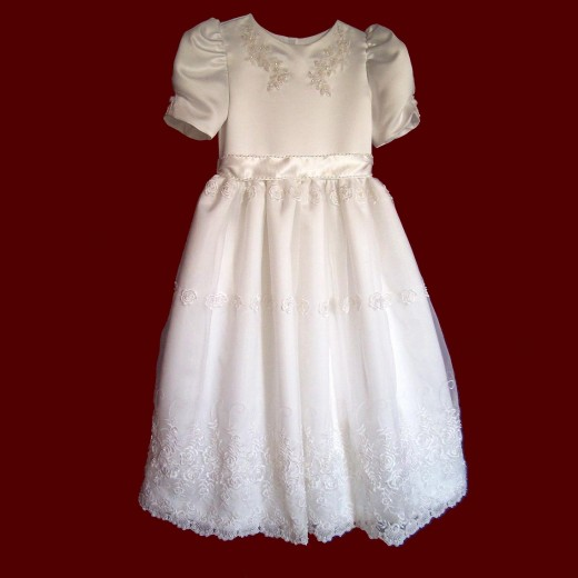 A typical girl's first Holy Communion dress.