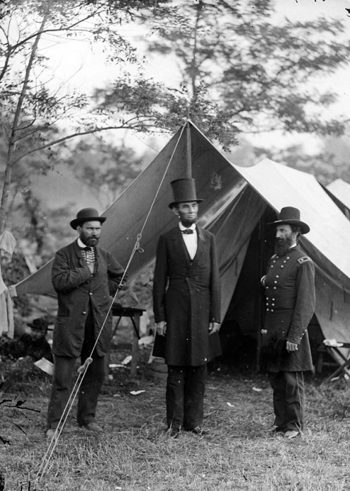 Abraham Lincoln, Allan Pinkerton and John Alexander McClernand, visiting the Antietam battlefield, October 3, 1862. Photograph By Alexander Gardner