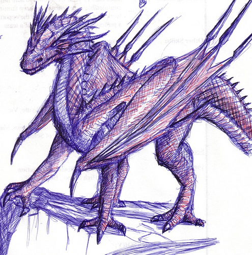 A biro pen sketch of a dragon.