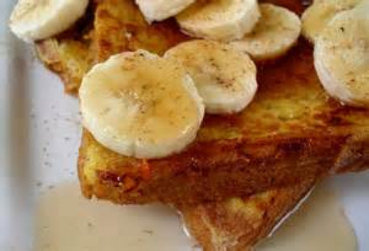 Banana Bread French Toast served with bananas