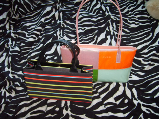Handbags, $4 for striped Costa Blanca (new and found original price tag in purse $195), $6 for Gucci.