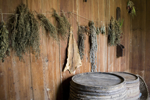 Herbs can be dried by hanging them in a dry place out of sunlight.