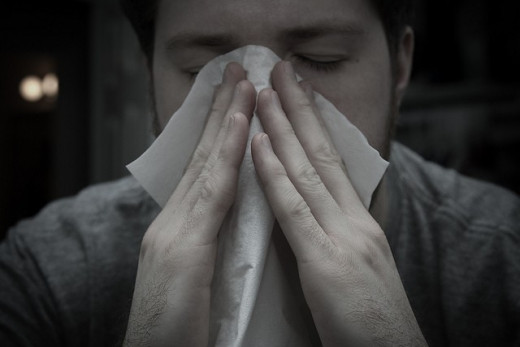 Boy Covering Nose with Tissue