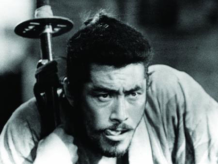 Toshirō Mifune (with the world's biggest sword) in Kurosawa's masterpiece Seven Samurai (1954)