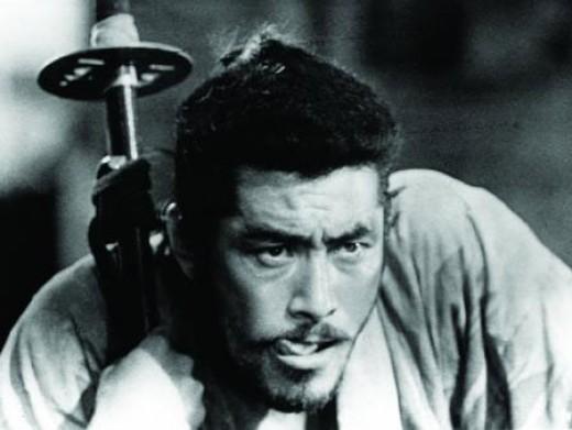 Toshirō Mifune (with the world's biggest sword) in Kurosawa's masterpiece Seven Samurai (1954)