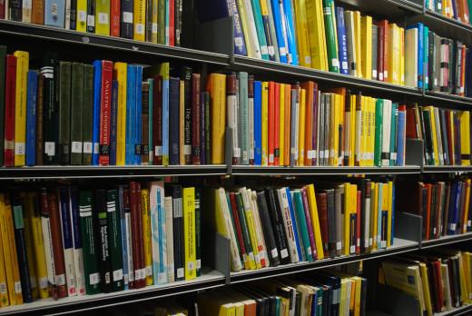 Shelf full of text books